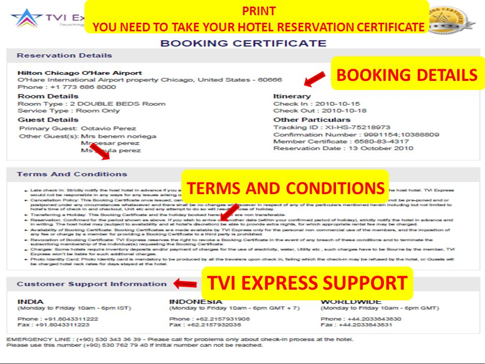 SOPORTE TVI EXPRESS TERMINOS Y CONDICIONES TVI EXPRESS SUPPORT TERMS AND CONDITIONS BOOKING DETAILS PRINT YOU NEED TO TAKE YOUR HOTEL RESERVATION CERTIFICATE