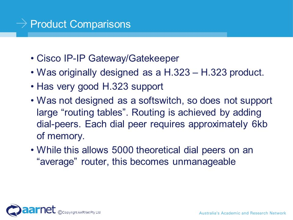© Copyright AARNet Pty Ltd Product Comparisons Cisco IP-IP Gateway/Gatekeeper Was originally designed as a H.323 – H.323 product. Has very good H.323