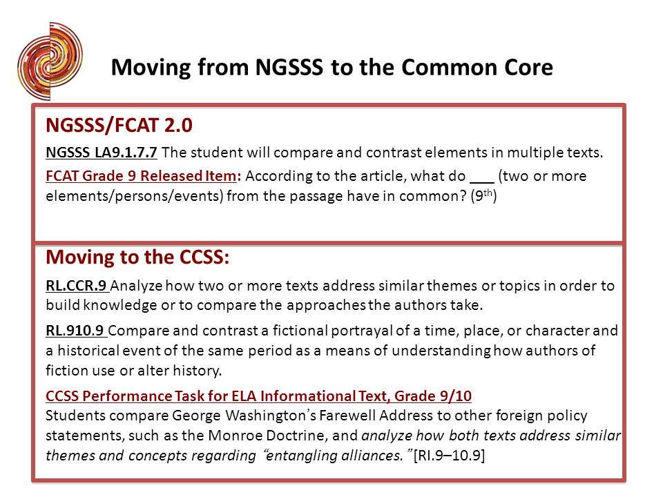 NGSSS/FCAT 2.0 NGSSS LA9.1.7.7 The student will compare and contrast elements in multiple texts. FCAT Grade 9 Released Item: According to the article,