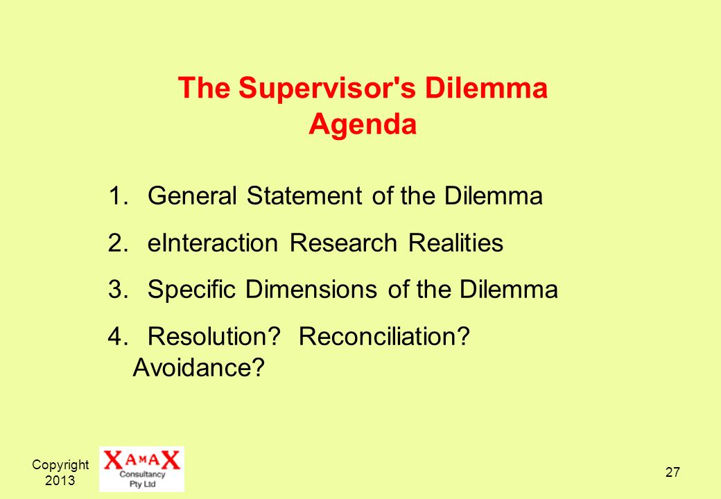 Copyright 2013 27 The Supervisor's Dilemma Agenda 1. General Statement of the Dilemma 2. eInteraction Research Realities 3. Specific Dimensions of the