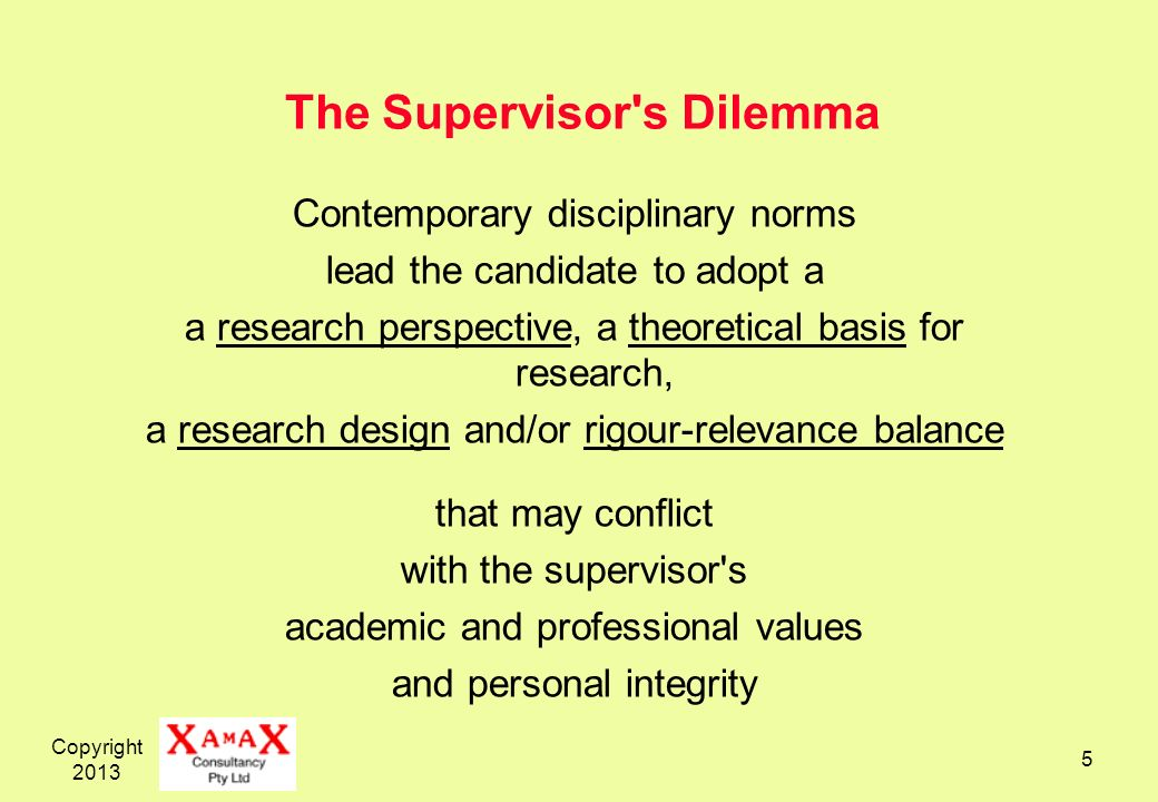Copyright 2013 5 The Supervisor's Dilemma Contemporary disciplinary norms lead the candidate to adopt a a research perspective, a theoretical basis fo