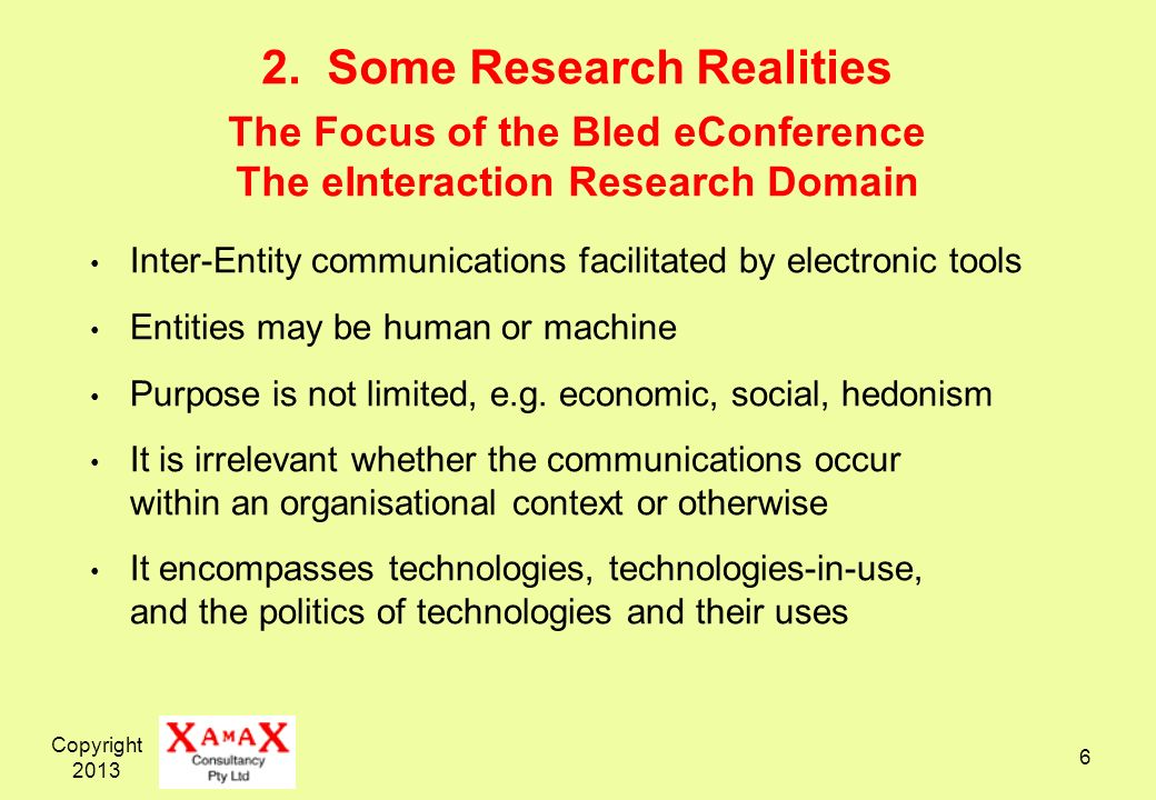 Copyright 2013 6 2. Some Research Realities The Focus of the Bled eConference The eInteraction Research Domain Inter-Entity communications facilitated