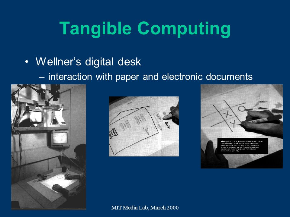 MIT Media Lab, March 2000 Tangible Computing Wellners digital desk –interaction with paper and electronic documents