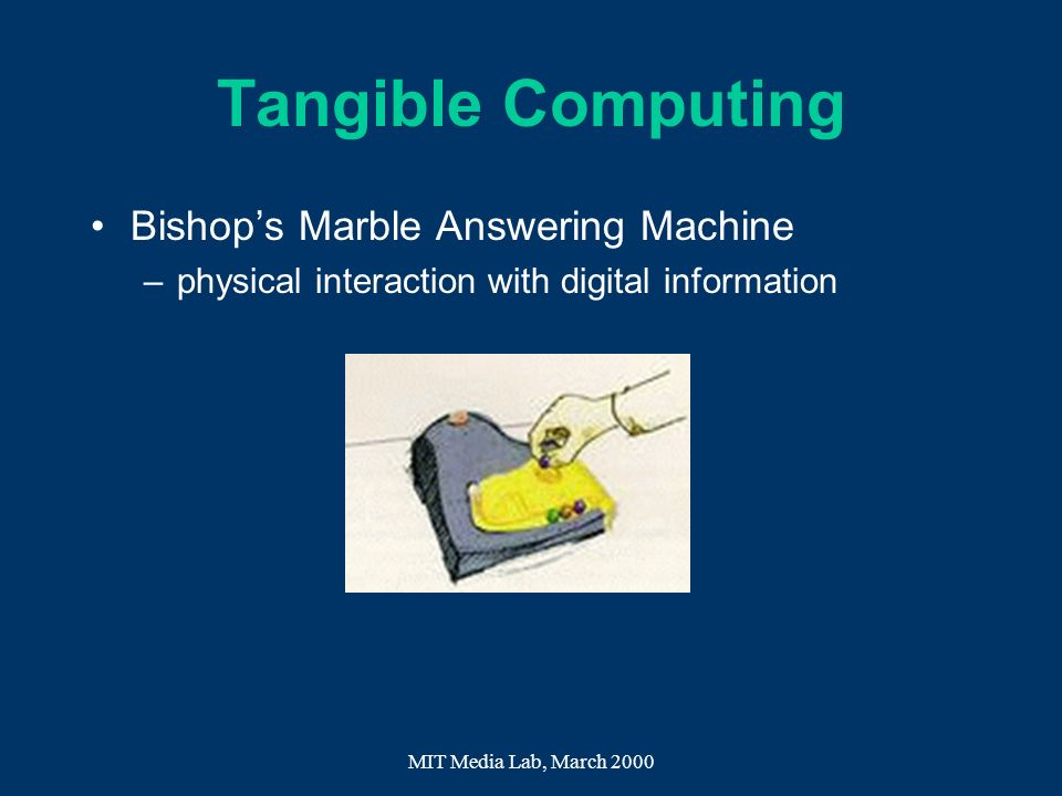 MIT Media Lab, March 2000 Tangible Computing Bishops Marble Answering Machine –physical interaction with digital information