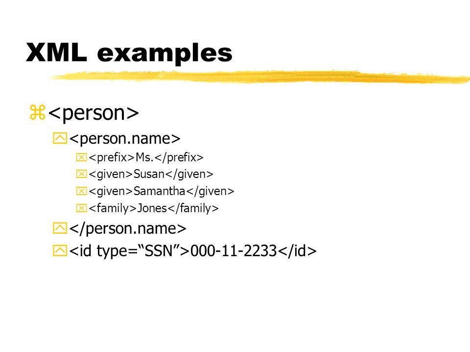 XML examples z y x Ms. x Susan x Samantha x Jones y y 000-11-2233