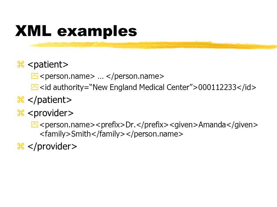 XML examples z y … y 000112233 z y Dr. Amanda Smith z