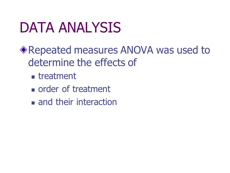 DATA ANALYSIS Repeated measures ANOVA was used to determine the effects of treatment order of treatment and their interaction