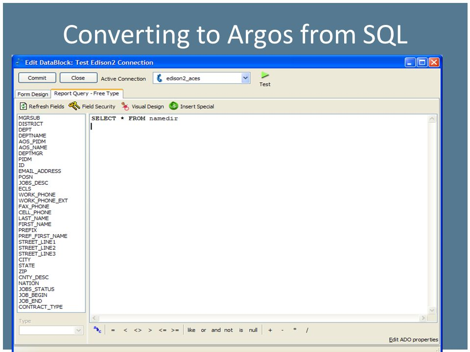 Converting to Argos from SQL