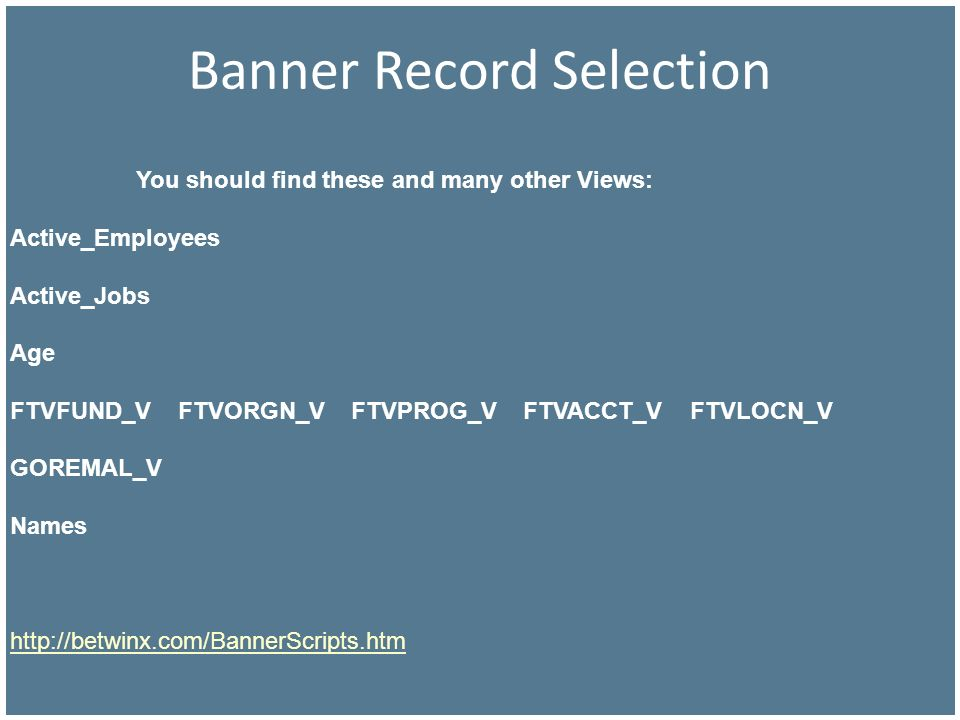 Banner Record Selection You should find these and many other Views: Active_Employees Active_Jobs Age FTVFUND_V FTVORGN_V FTVPROG_V FTVACCT_V FTVLOCN_V
