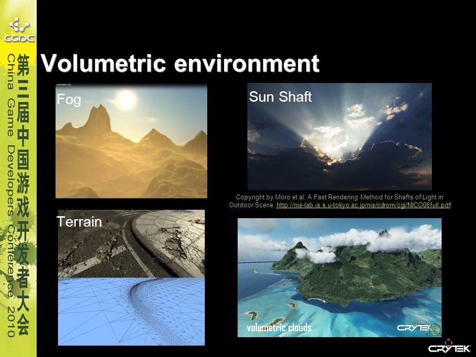 Volumetric environment Fog Terrain Sun Shaft Copyright by Moro et al. A Fast Rendering Method for Shafts of Light in Outdoor Scene. http://nis-lab.is.
