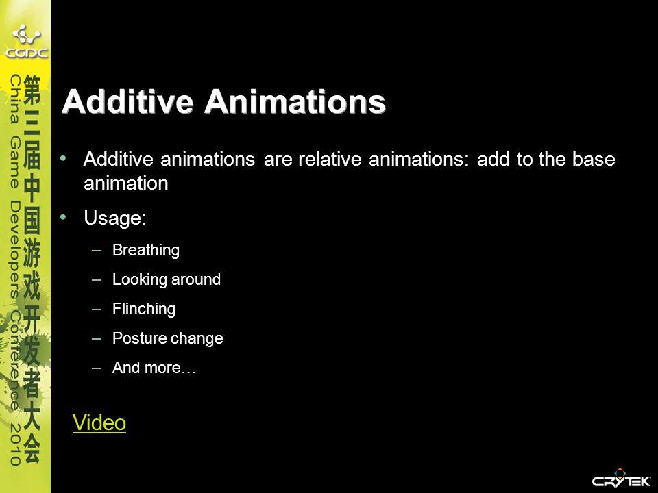 Additive Animations Additive animations are relative animations: add to the base animation Usage: – Breathing – Looking around – Flinching – Posture c