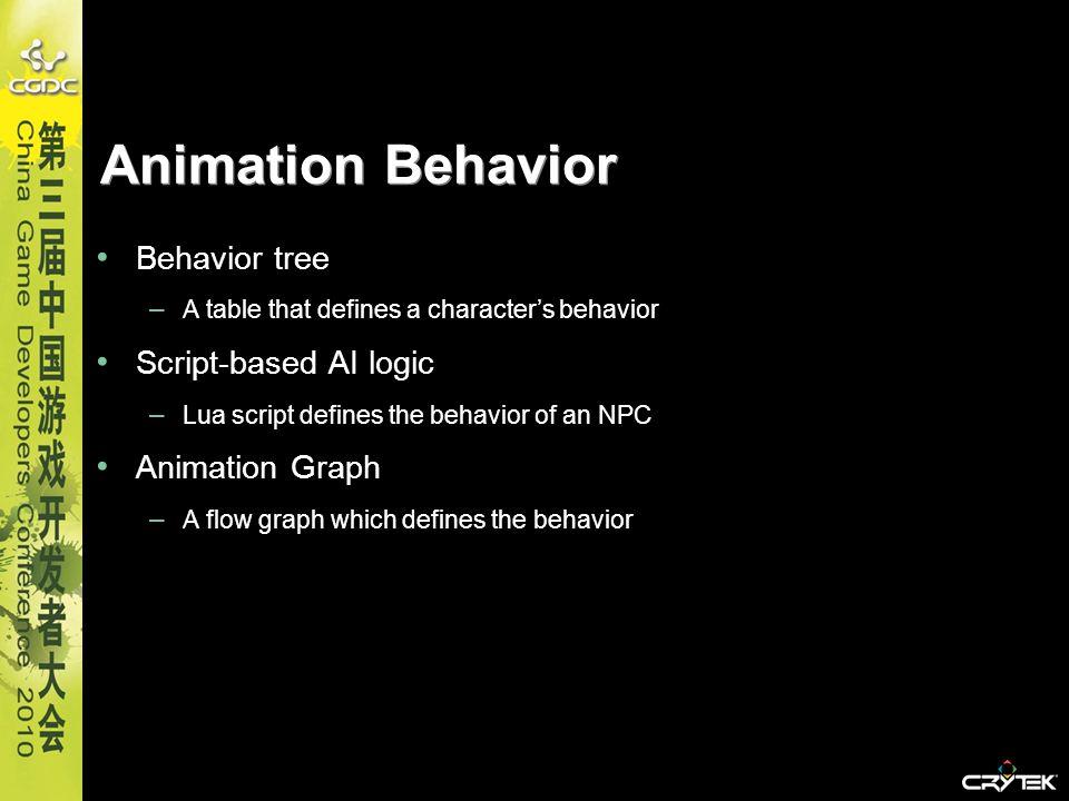 Animation Behavior Behavior tree – A table that defines a characters behavior Script-based AI logic – Lua script defines the behavior of an NPC Animat