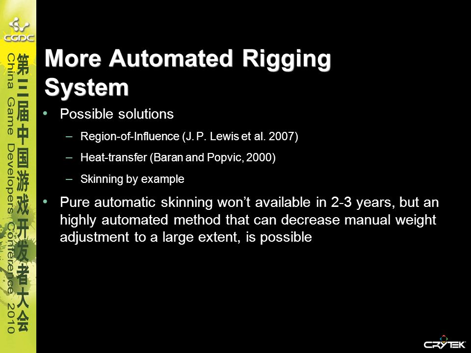 More Automated Rigging System Possible solutions – Region-of-Influence (J. P. Lewis et al. 2007) – Heat-transfer (Baran and Popvic, 2000) – Skinning b