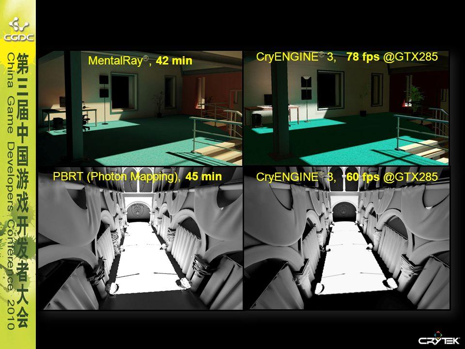 MentalRay ®, 42 min CryENGINE ® 3, 78 fps @GTX285 PBRT (Photon Mapping), 45 min CryENGINE ® 3, 60 fps @GTX285