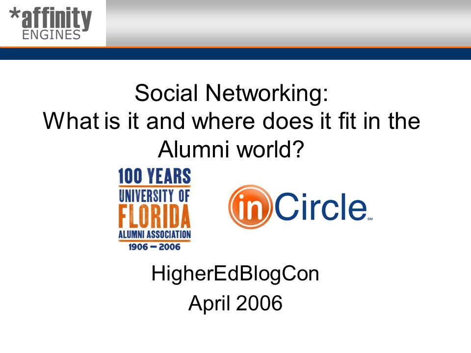 Social Networking: What is it and where does it fit in the Alumni world? HigherEdBlogCon April 2006
