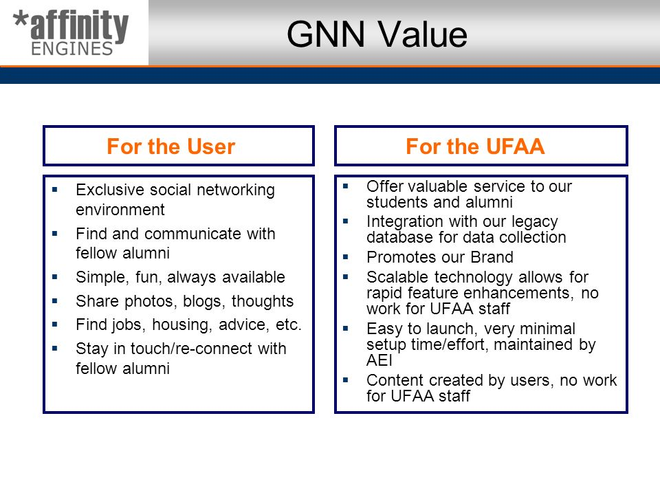 GNN Value Exclusive social networking environment Find and communicate with fellow alumni Simple, fun, always available Share photos, blogs, thoughts