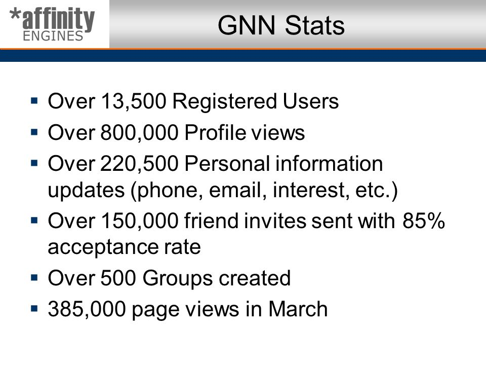 GNN Stats Over 13,500 Registered Users Over 800,000 Profile views Over 220,500 Personal information updates (phone, email, interest, etc.) Over 150,00