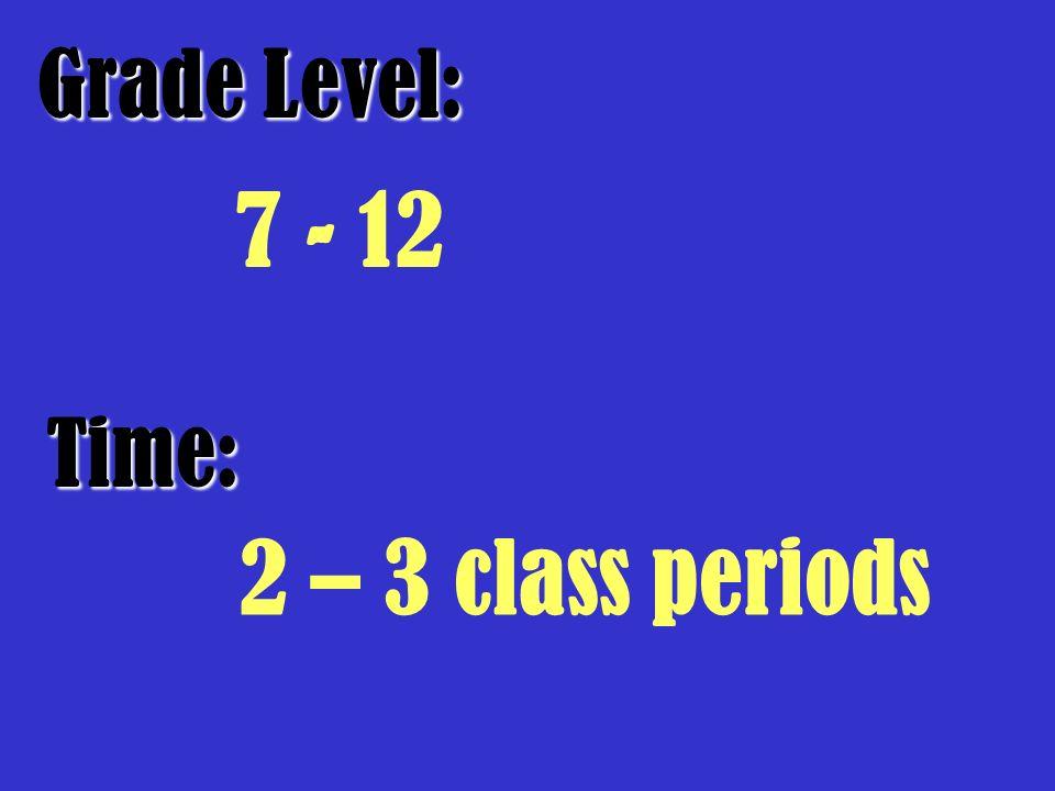 Grade Level: Time: 7 - 12 2 – 3 class periods