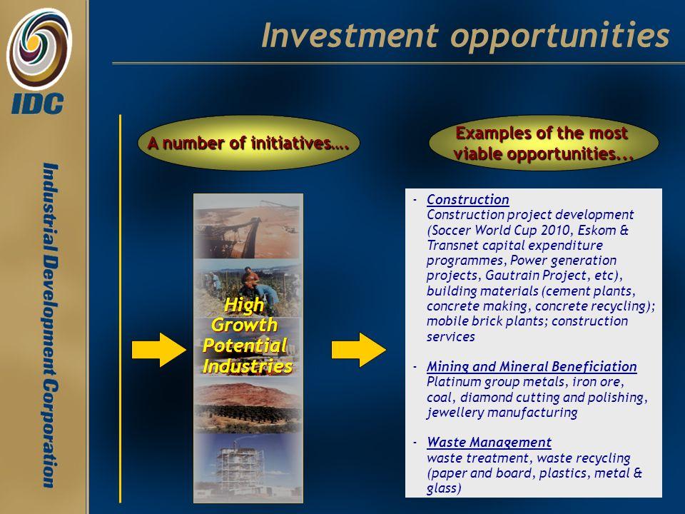 Investment opportunities - -Construction Construction project development (Soccer World Cup 2010, Eskom & Transnet capital expenditure programmes, Pow