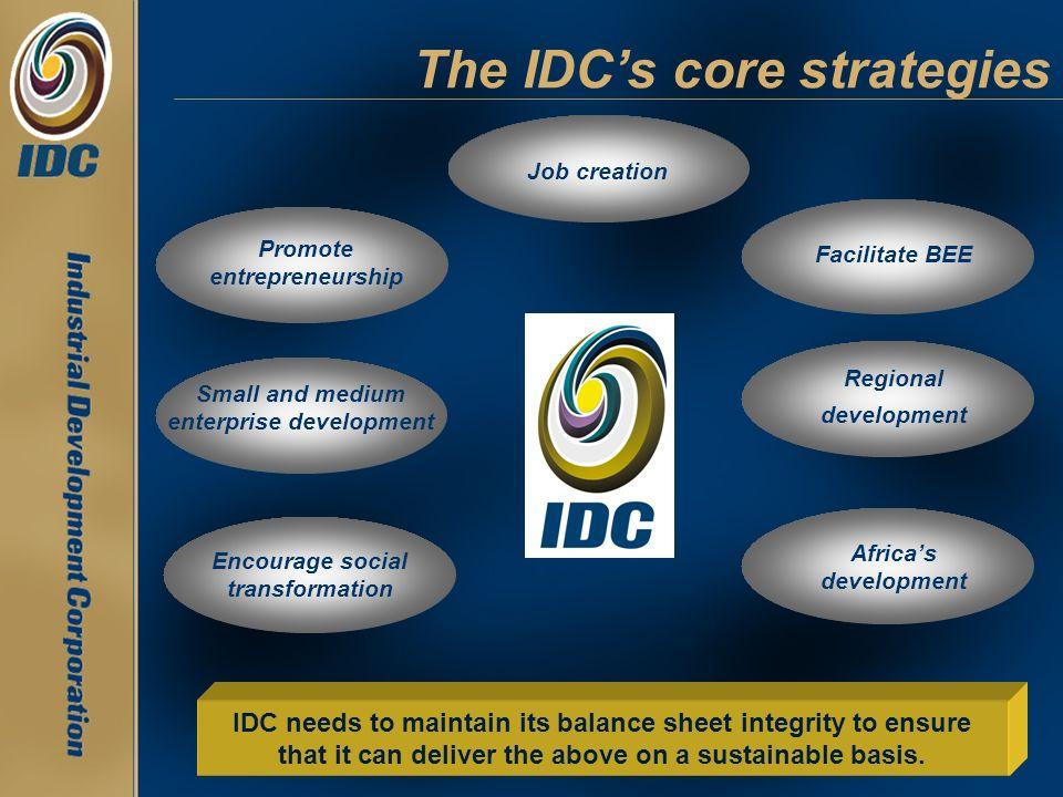 Job creation Facilitate BEE Promote entrepreneurship Small and medium enterprise development Regional development The IDCs core strategies Encourage s