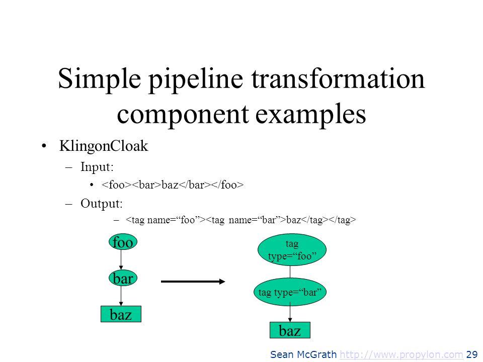 Sean McGrath http://www.propylon.com 29http://www.propylon.com Simple pipeline transformation component examples KlingonCloak –Input: baz –Output: – b