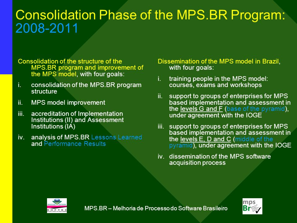 MPS.BR – Melhoria de Processo do Software Brasileiro Consolidation Phase of the MPS.BR Program: Consolidation of the structure of the MPS.BR program and improvement of the MPS model, with four goals: i.consolidation of the MPS.BR program structure ii.MPS model improvement iii.accreditation of Implementation Institutions (II) and Assessment Institutions (IA) iv.analysis of MPS.BR Lessons Learned and Performance Results Dissemination of the MPS model in Brazil, with four goals: i.training people in the MPS model: courses, exams and workshops ii.support to groups of enterprises for MPS based implementation and assessment in the levels G and F (base of the pyramid), under agreement with the IOGE iii.support to groups of enterprises for MPS based implementation and assessment in the levels E, D and C (middle of the pyramid), under agreement with the IOGE iv.dissemination of the MPS software acquisition process