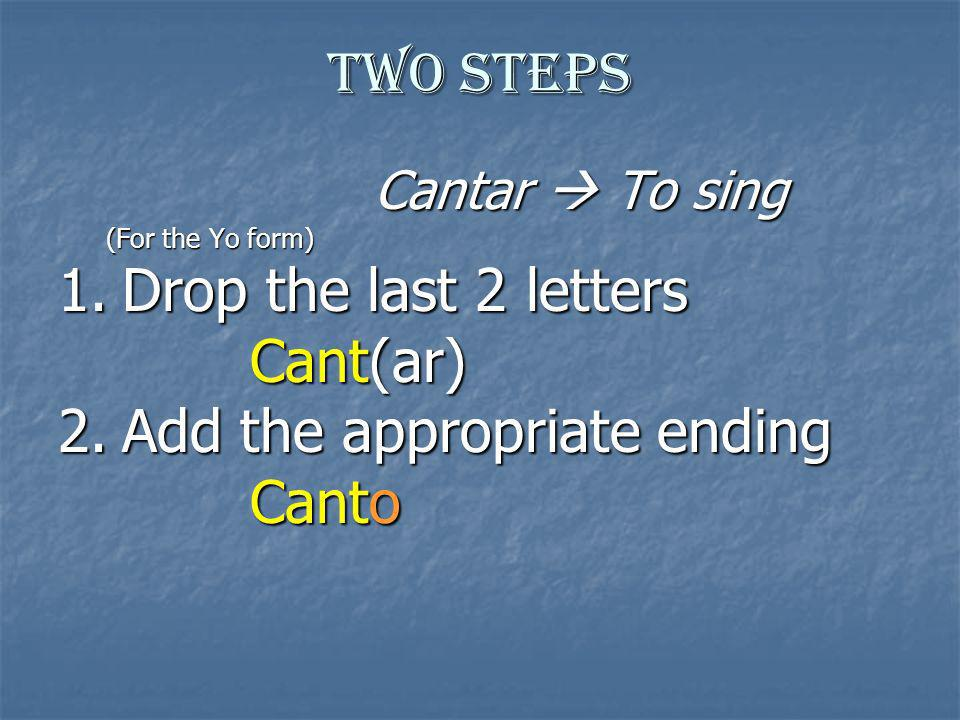 Conjugation Canto Cantamos Cantas Cantáis Canta Cantan 1.Drop the last 2 letters of the infinitive (To + verb in Spanish, infinitives end in –AR, –ER, or –IR).