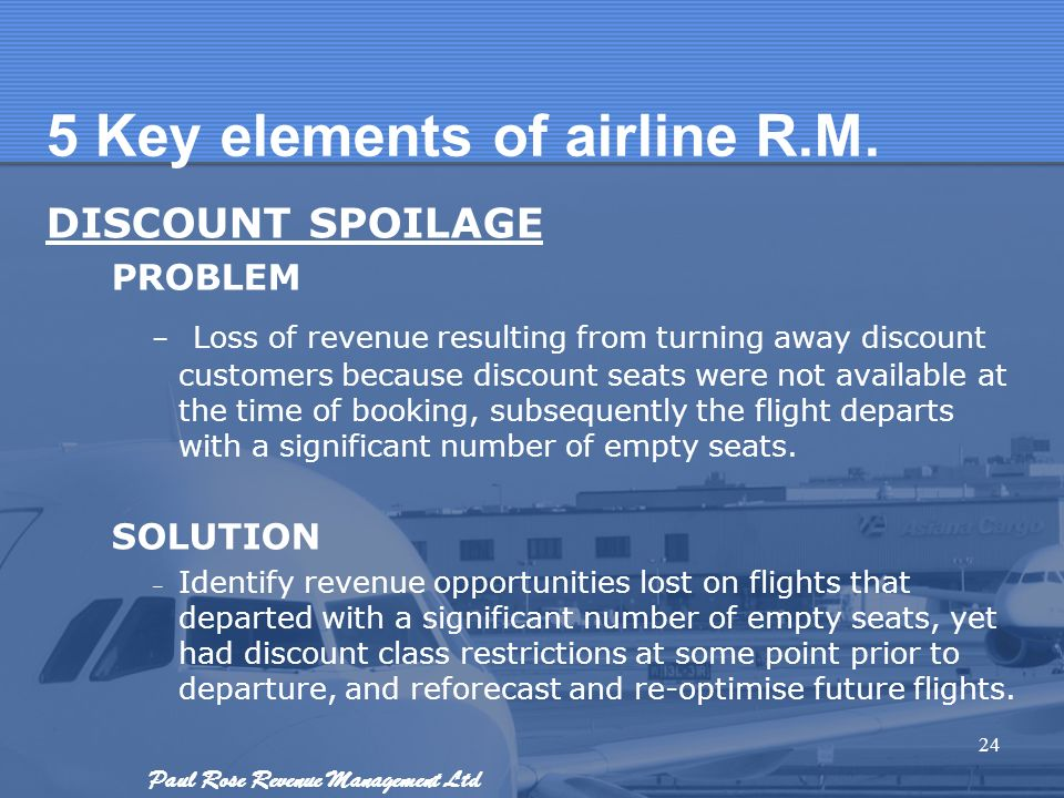 Paul Rose Revenue Management Ltd 5 Key elements of airline R.M. DISCOUNT SPOILAGE PROBLEM – Loss of revenue resulting from turning away discount custo