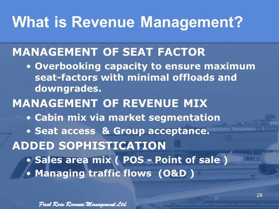 Paul Rose Revenue Management Ltd What is Revenue Management? MANAGEMENT OF SEAT FACTOR Overbooking capacity to ensure maximum seat-factors with minima