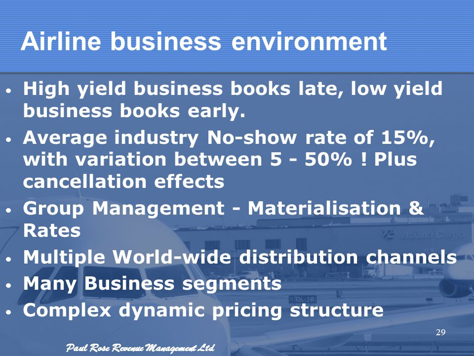 Paul Rose Revenue Management Ltd Airline business environment High yield business books late, low yield business books early. Average industry No-show
