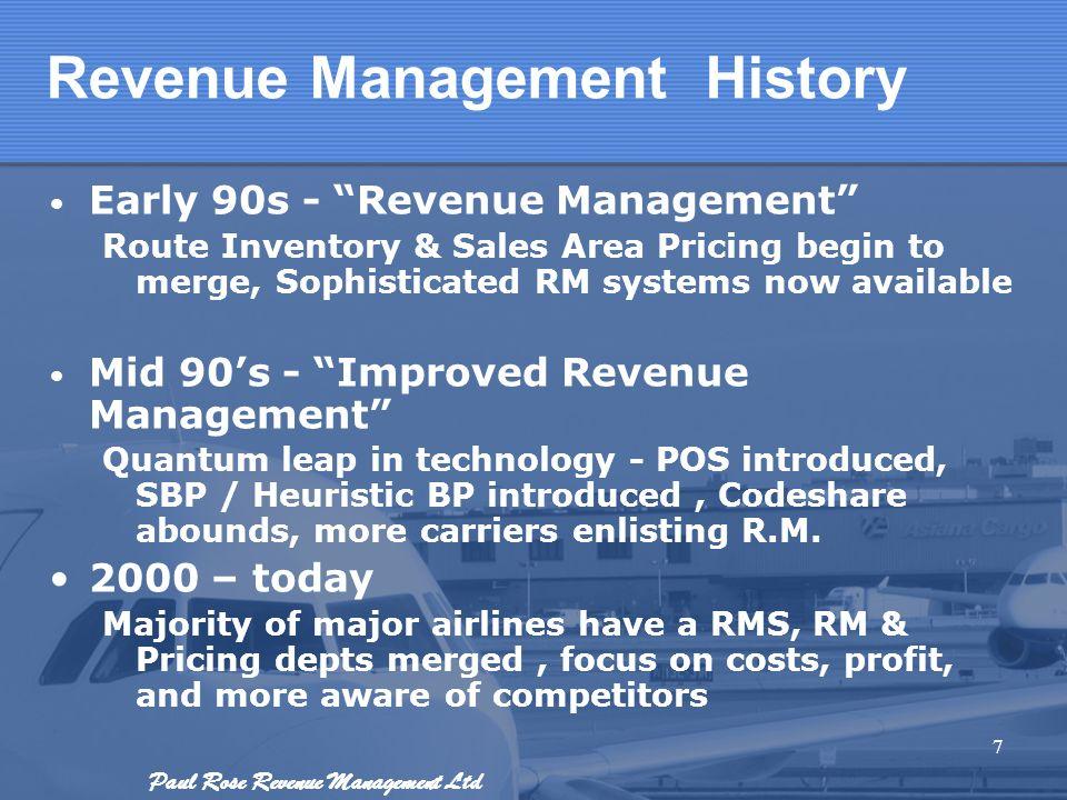 Paul Rose Revenue Management Ltd Revenue Management History Early 90s - Revenue Management Route Inventory & Sales Area Pricing begin to merge, Sophis