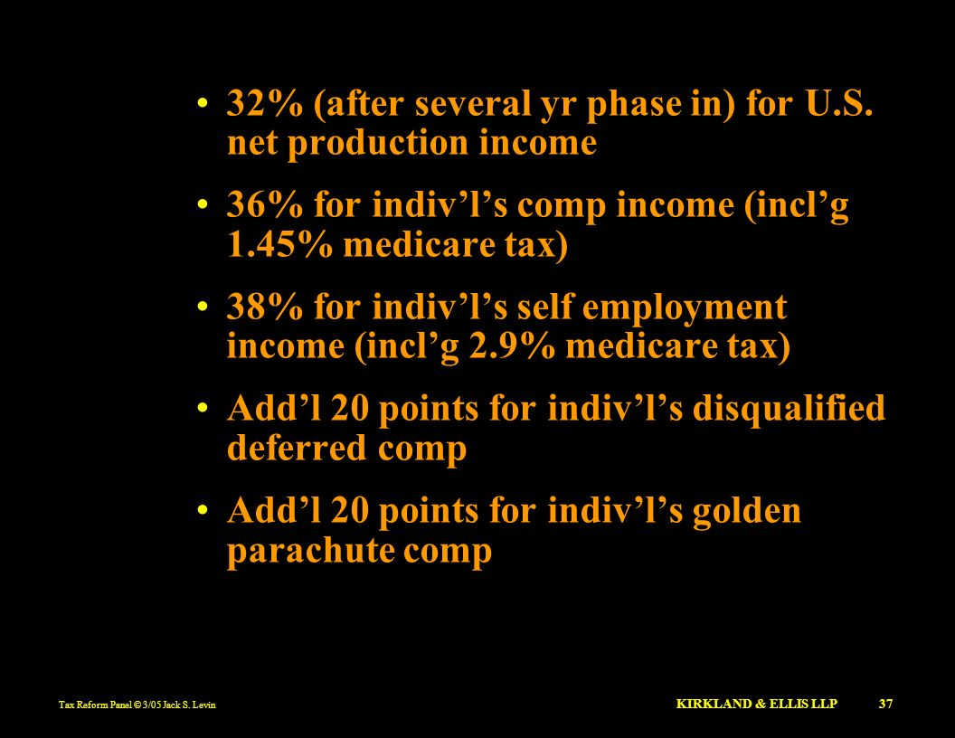 Tax Reform Panel © 3/05 Jack S. Levin KIRKLAND & ELLIS LLP 37 32% (after several yr phase in) for U.S. net production income 36% for indivls comp inco