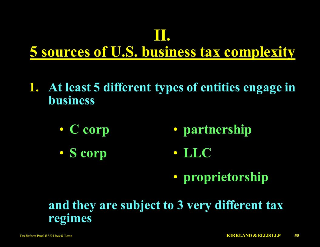 Tax Reform Panel © 3/05 Jack S. Levin KIRKLAND & ELLIS LLP 55 II. 5 sources of U.S. business tax complexity 1.At least 5 different types of entities e