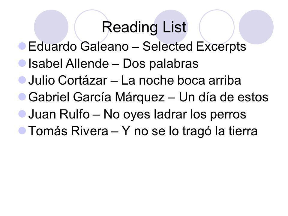Reading List Eduardo Galeano – Selected Excerpts Isabel Allende – Dos palabras Julio Cortázar – La noche boca arriba Gabriel García Márquez – Un día d
