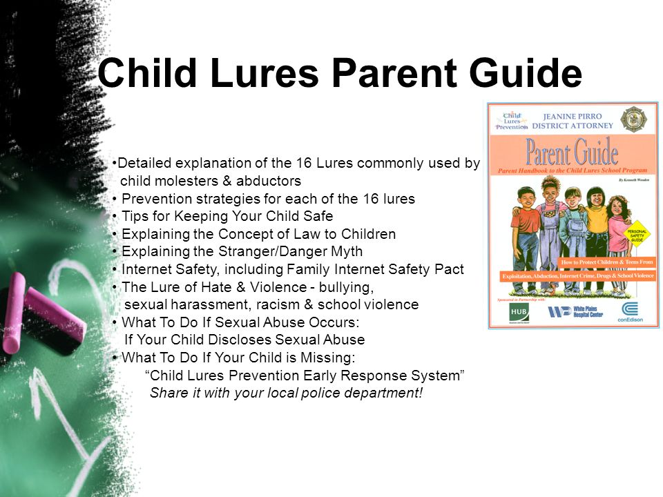Child Lures School Program Kit Includes: Presenters Video, Student Video, Presenters Guide with scripted lesson plans for Elementary & Middle/High Sch