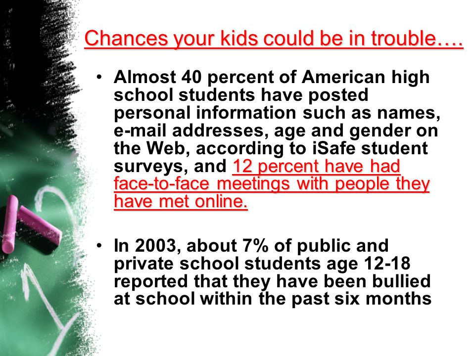Youth 12-17 are two to three times more likely than adults to be the victims of an assault, robbery, or rape, according to the National Crime Victimiz