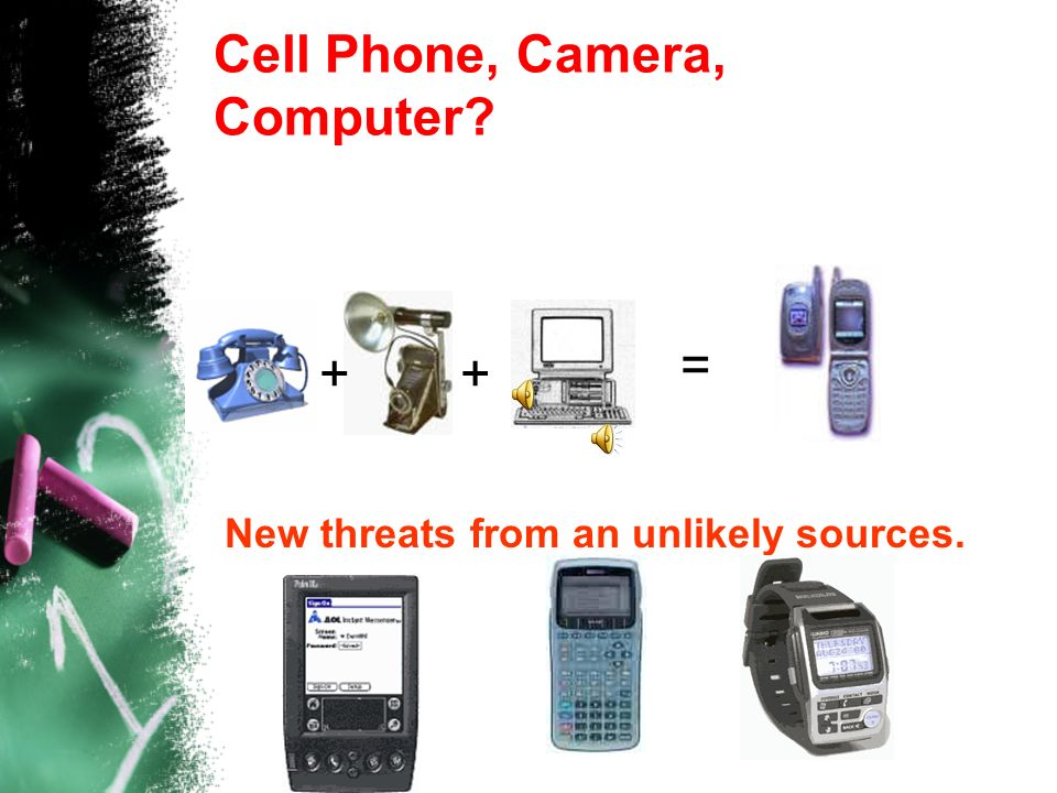 Cell Phone, Camera, Computer? = ++ New threats from an unlikely sources.