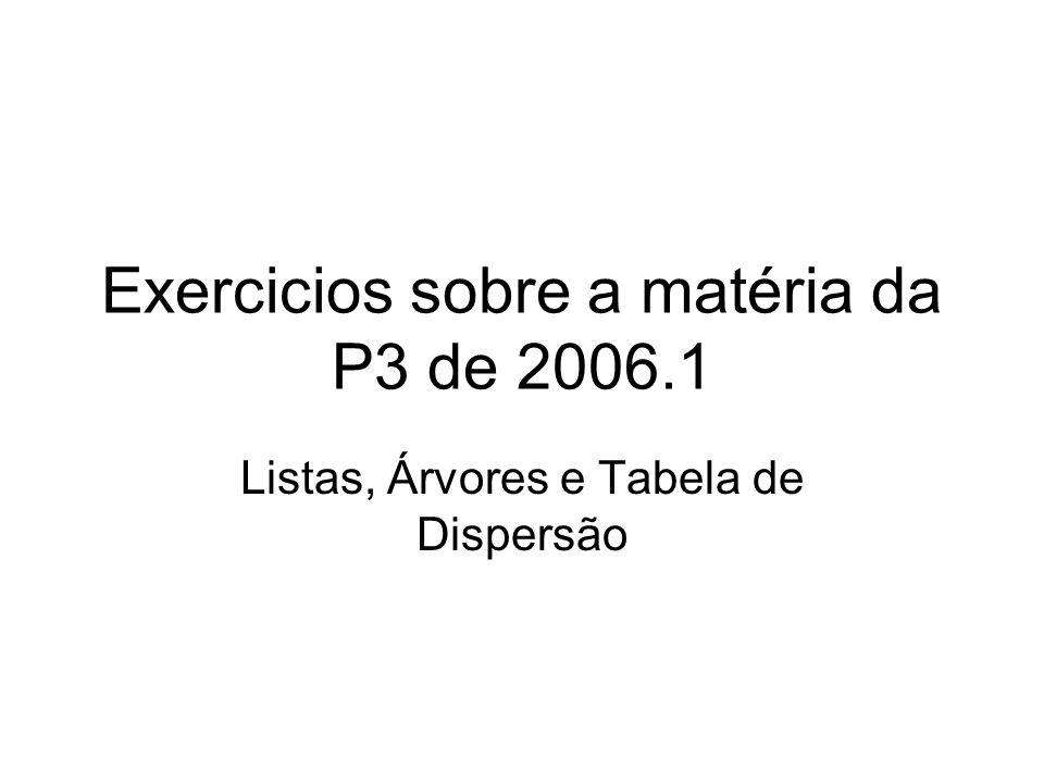 Exercicios sobre a matéria da P3 de 2006.1 Listas, Árvores e Tabela de Dispersão