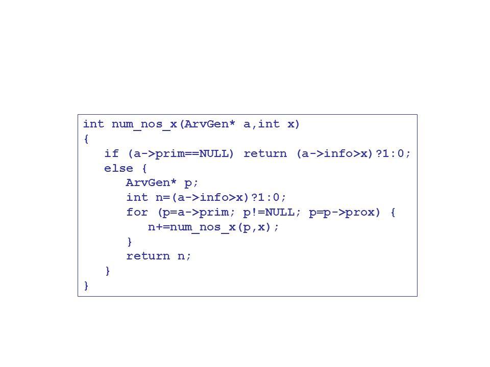 int num_nos_x(ArvGen* a,int x) { if (a->prim==NULL) return (a->info>x)?1:0; else { ArvGen* p; int n=(a->info>x)?1:0; for (p=a->prim; p!=NULL; p=p->pro