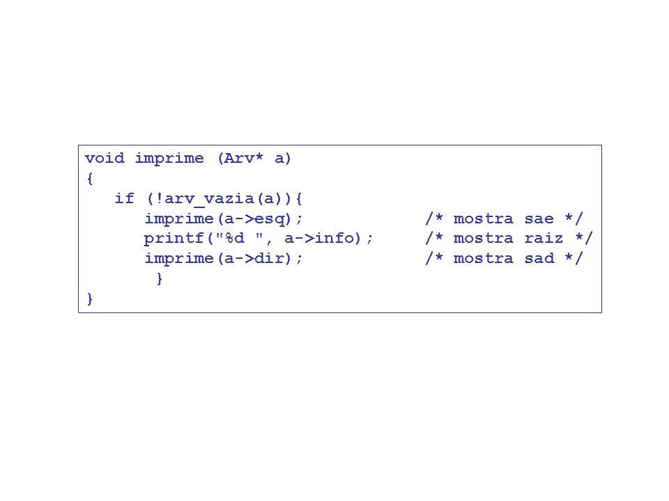 void imprime (Arv* a) { if (!arv_vazia(a)){ imprime(a->esq); /* mostra sae */ printf(