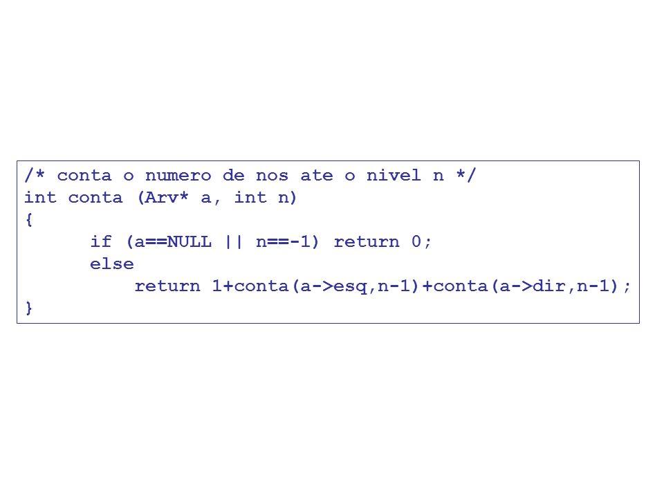 /* conta o numero de nos ate o nivel n */ int conta (Arv* a, int n) { if (a==NULL || n==-1) return 0; else return 1+conta(a->esq,n-1)+conta(a->dir,n-1