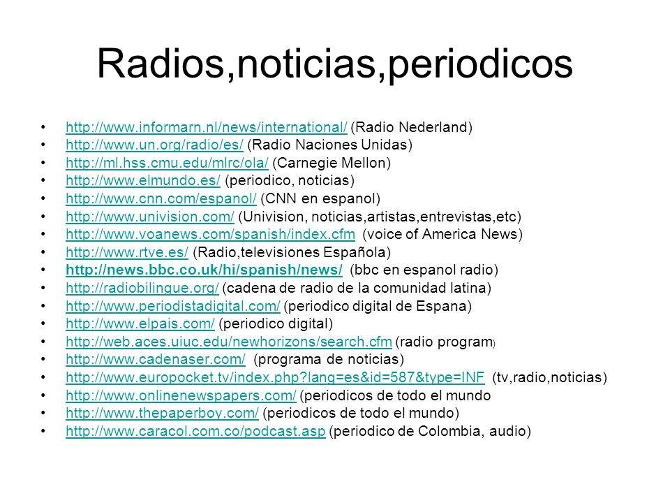 Radios,noticias,periodicos http://www.informarn.nl/news/international/ (Radio Nederland)http://www.informarn.nl/news/international/ http://www.un.org/radio/es/ (Radio Naciones Unidas)http://www.un.org/radio/es/ http://ml.hss.cmu.edu/mlrc/ola/ (Carnegie Mellon)http://ml.hss.cmu.edu/mlrc/ola/ http://www.elmundo.es/ (periodico, noticias)http://www.elmundo.es/ http://www.cnn.com/espanol/ (CNN en espanol)http://www.cnn.com/espanol/ http://www.univision.com/ (Univision, noticias,artistas,entrevistas,etc)http://www.univision.com/ http://www.voanews.com/spanish/index.cfm (voice of America News)http://www.voanews.com/spanish/index.cfm http://www.rtve.es/ (Radio,televisiones Española)http://www.rtve.es/ http://news.bbc.co.uk/hi/spanish/news/ (bbc en espanol radio)http://news.bbc.co.uk/hi/spanish/news/ http://radiobilingue.org/ (cadena de radio de la comunidad latina)http://radiobilingue.org/ http://www.periodistadigital.com/ (periodico digital de Espana)http://www.periodistadigital.com/ http://www.elpais.com/ (periodico digital)http://www.elpais.com/ http://web.aces.uiuc.edu/newhorizons/search.cfm (radio program )http://web.aces.uiuc.edu/newhorizons/search.cfm http://www.cadenaser.com/ (programa de noticias)http://www.cadenaser.com/ http://www.europocket.tv/index.php lang=es&id=587&type=INF (tv,radio,noticias)http://www.europocket.tv/index.php lang=es&id=587&type=INF http://www.onlinenewspapers.com/ (periodicos de todo el mundohttp://www.onlinenewspapers.com/ http://www.thepaperboy.com/ (periodicos de todo el mundo)http://www.thepaperboy.com/ http://www.caracol.com.co/podcast.asp (periodico de Colombia, audio)http://www.caracol.com.co/podcast.asp