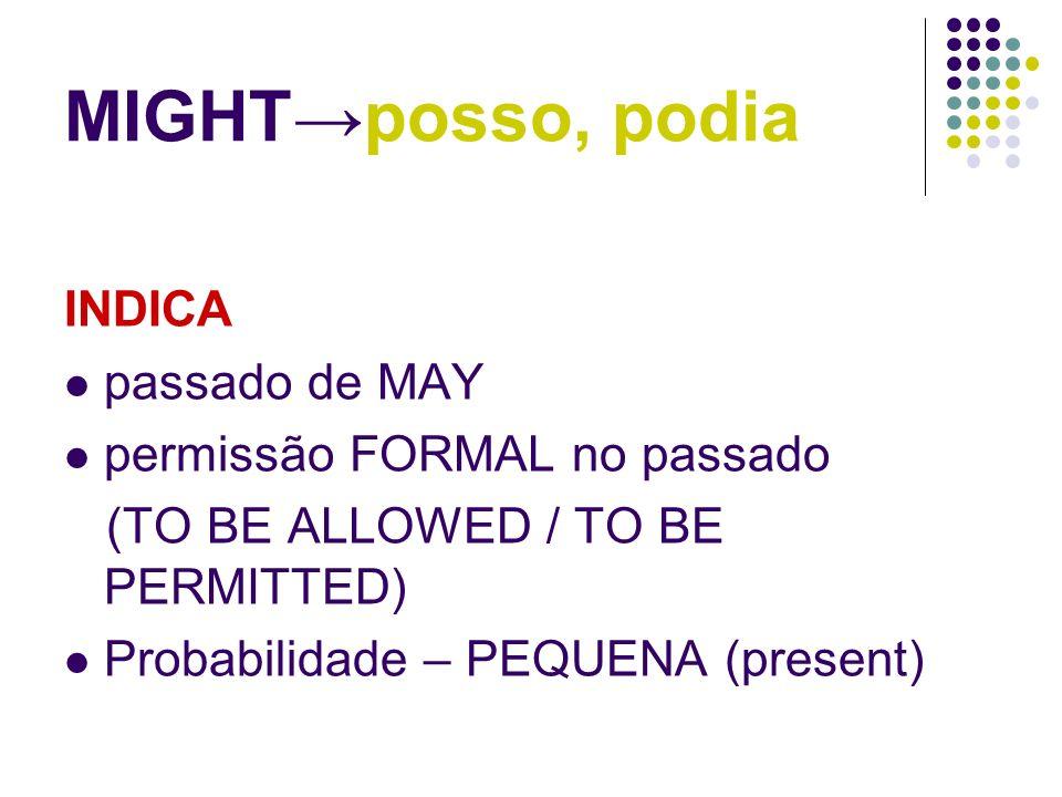 MIGHT posso, podia INDICA passado de MAY permissão FORMAL no passado (TO BE ALLOWED / TO BE PERMITTED) Probabilidade – PEQUENA (present)