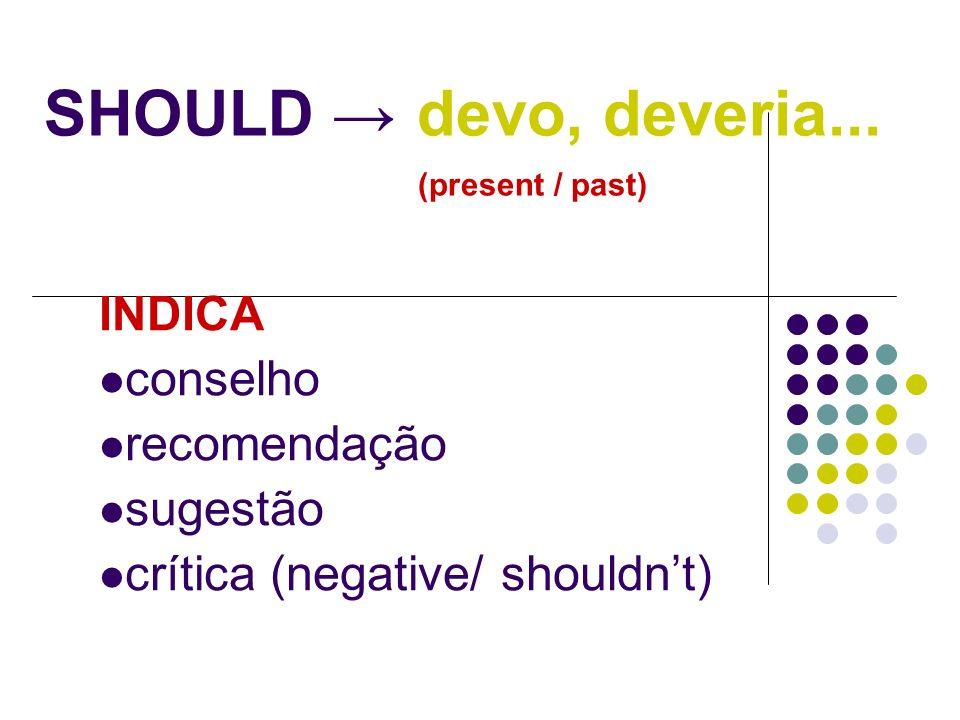SHOULD devo, deveria... (present / past) INDICA conselho recomendação sugestão crítica (negative/ shouldnt)