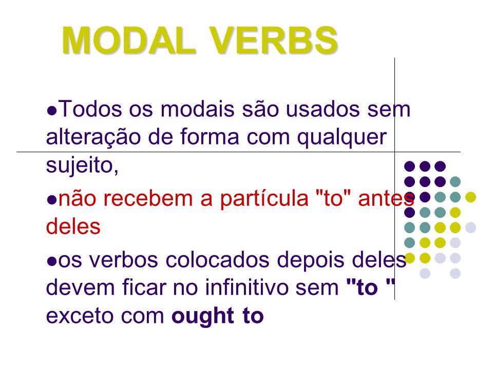 MODAL VERBS Todos os modais são usados sem alteração de forma com qualquer sujeito, não recebem a partícula