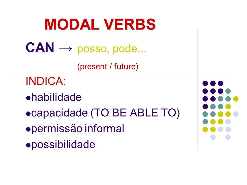 MODAL VERBS CAN posso, pode... (present / future) INDICA: habilidade capacidade (TO BE ABLE TO) permissão informal possibilidade