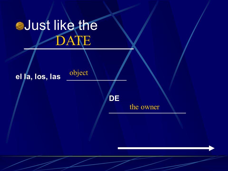 Just like the ______________ el la, los, las ______________ DE __________________ object the owner DATE