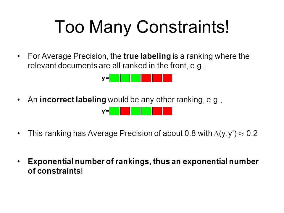 Too Many Constraints! For Average Precision, the true labeling is a ranking where the relevant documents are all ranked in the front, e.g., An incorre