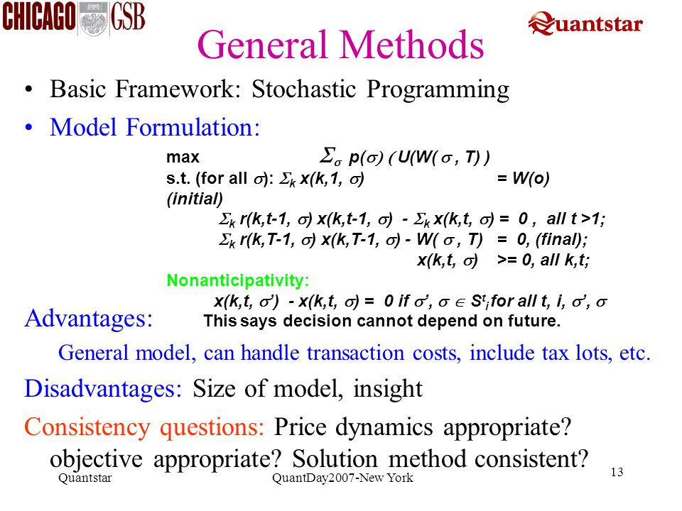 Quantstar QuantDay2007-New York 13 General Methods Basic Framework: Stochastic Programming Model Formulation: Advantages: General model, can handle tr