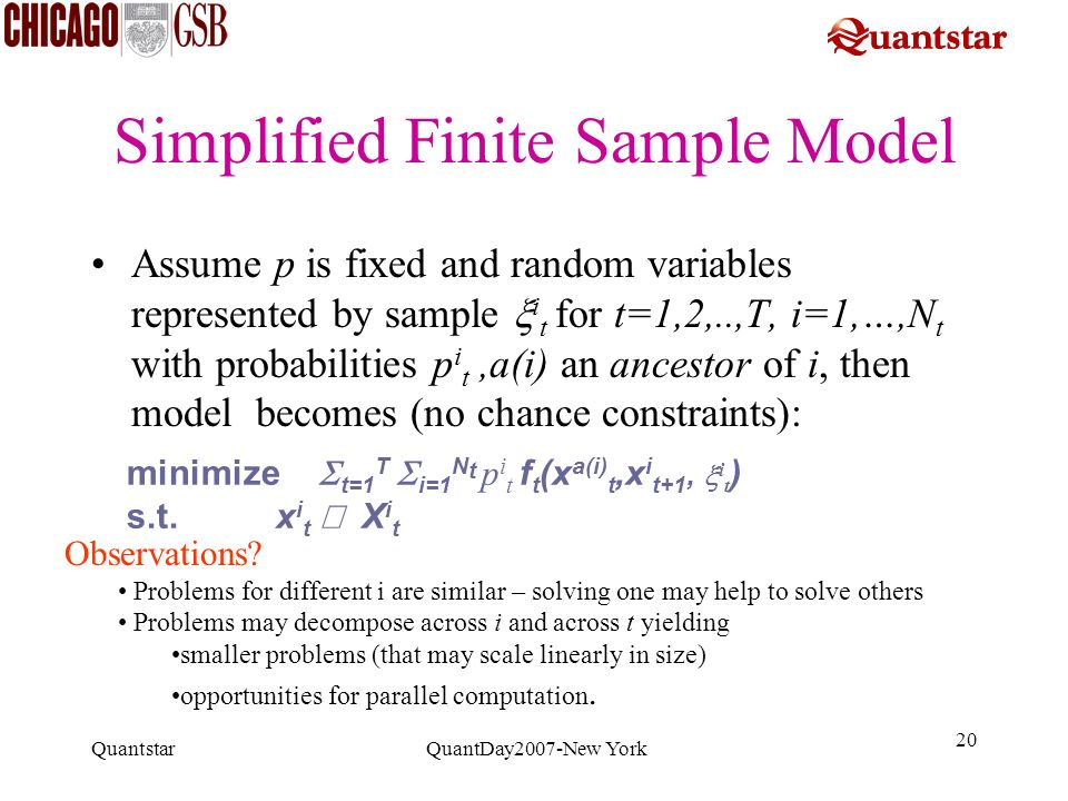 Quantstar QuantDay2007-New York 20 Simplified Finite Sample Model Assume p is fixed and random variables represented by sample i t for t=1,2,..,T, i=1